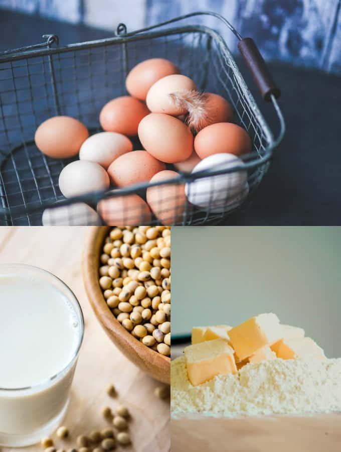 Eine Collage zum Thema veganen Backen (drei Fotos von Eiern in einem Korb, Butter, und einem Glas Sojamilch mit Sojabohnen in einer Schüssel)