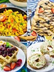eine Collage aus vier Fotos, die vegans Frühstück zeigen