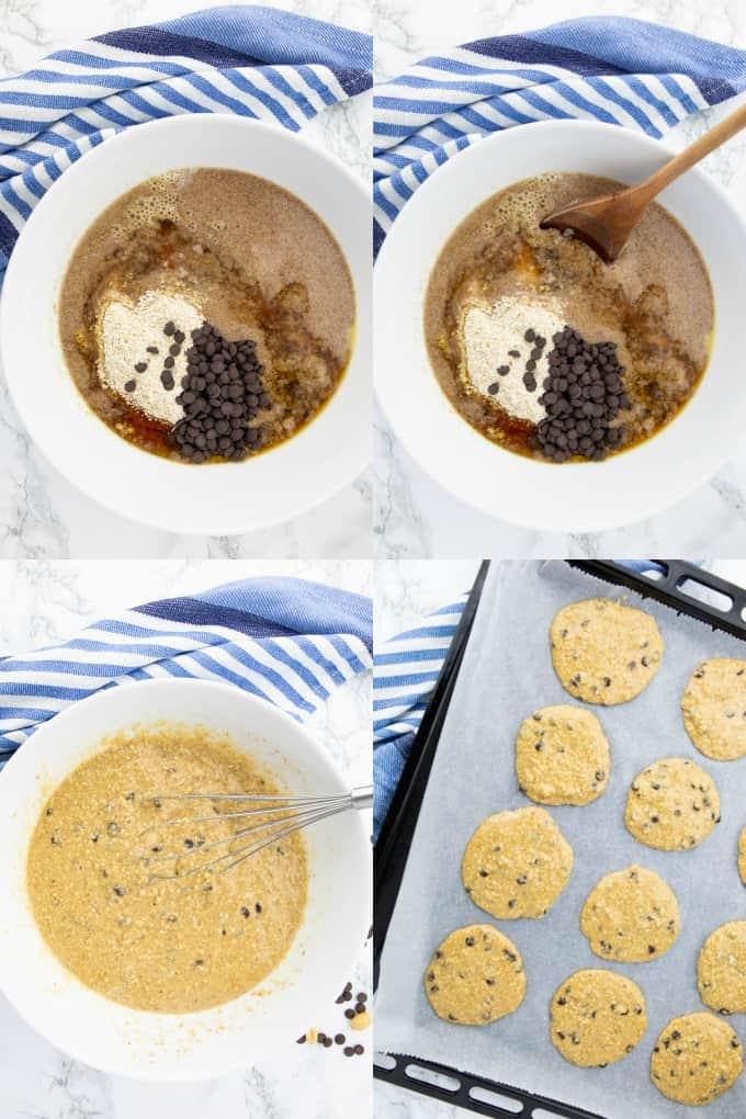 vier Schritt für Schritt Fotos, die die Zubereitung von veganen Keksen zeigen