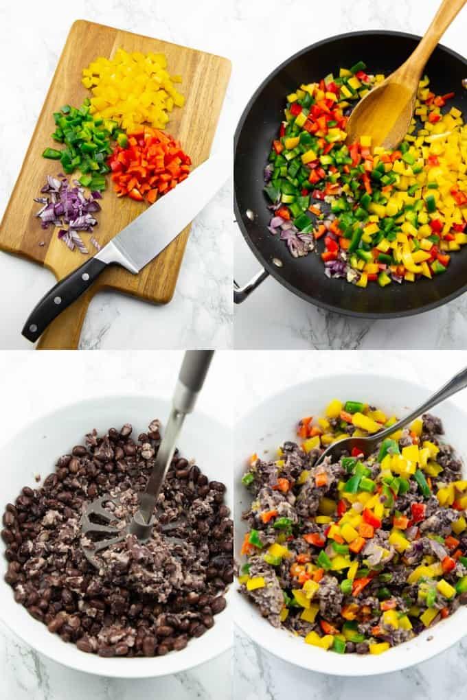 vier Schritt für Schritt Fotos, die die Zubereitung von Enchiladas zeigen