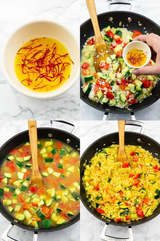 eine Collage aus vier Fotos, die die Zubereitung von Paella zeigen