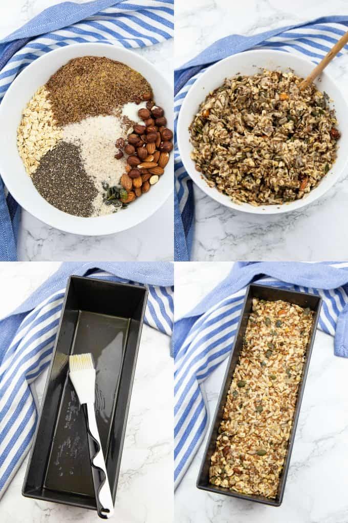 eine Collage aus vier Schritt für Schritt Fotos zum Thema Brot backen