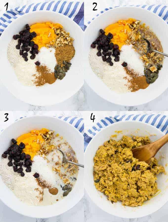 eine Collage aus vier Fotos, die die Zubereitung von Kürbisbrot zeigt