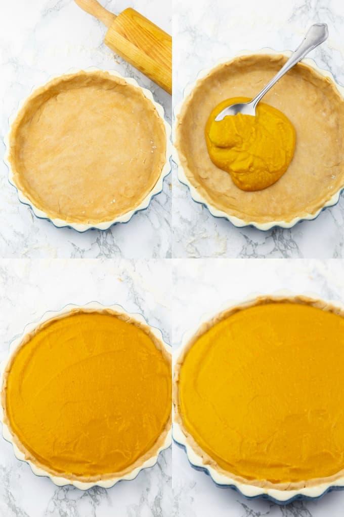 eine Collage aus vier Fotos, die die Zubereitung von Kürbiskuchen zeigt