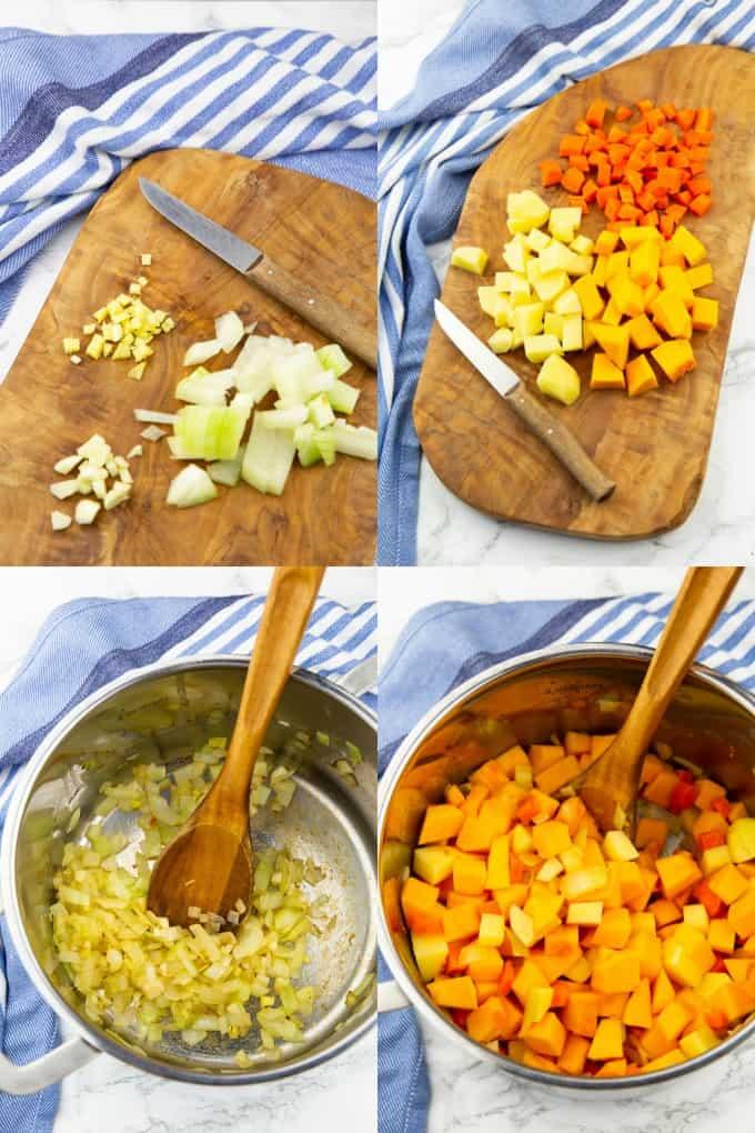 eine Collage aus vier Fotos, die die Zubereitung von Kürbissuppe zeigen