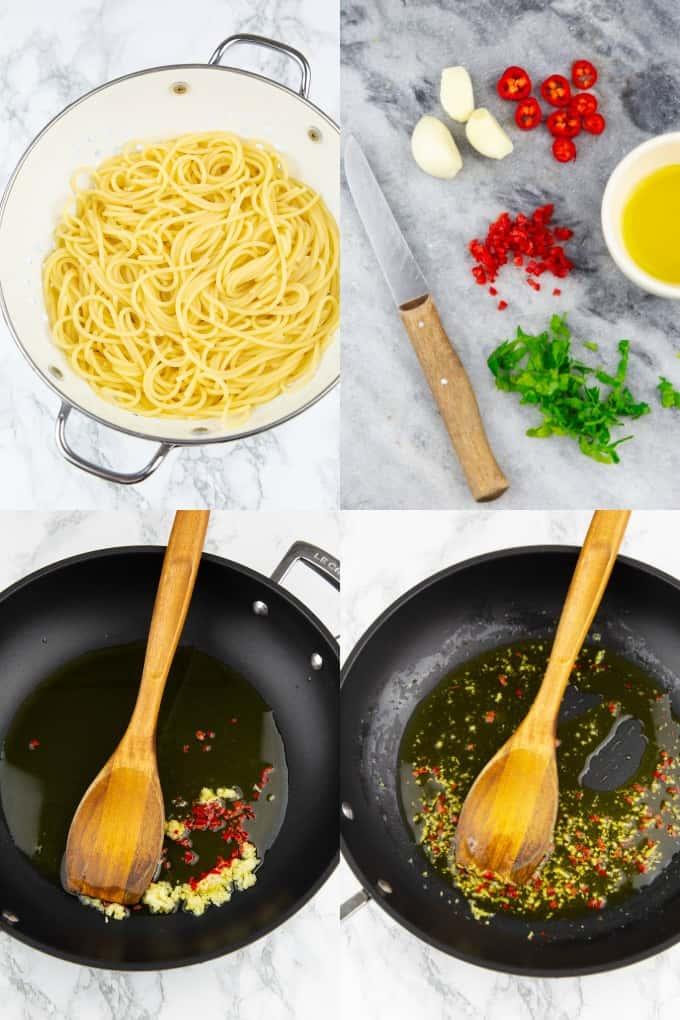 eine Collage aus vier Fotos, die die Zubereitung von Spaghetti Aglio e Olio zeigt