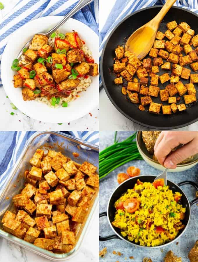 eine Collage aus vier Fotos, die verschiedene Tofu Rezepte zeigen