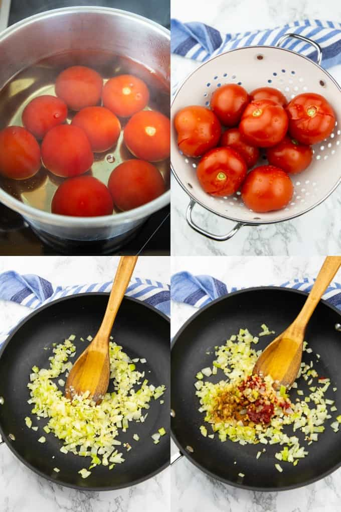 eine Collage aus vier Fotos, die die Zubereitung von selbstgemachter Tomatensauce zeigen