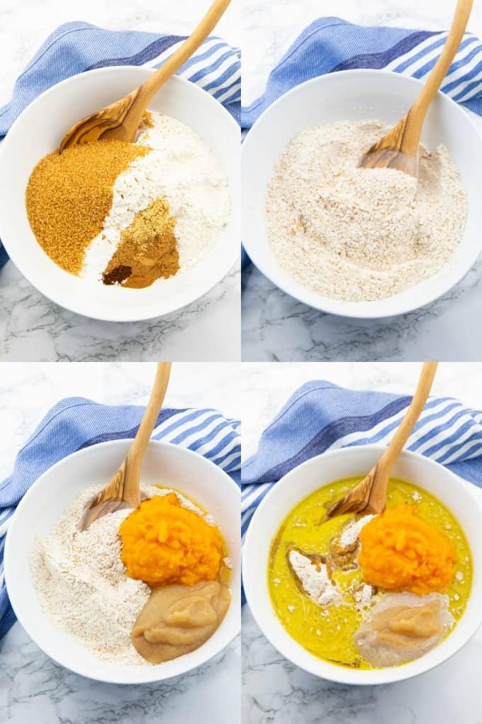 vier Fotos, die die Zubereitung von Kürbis Muffins zeigen