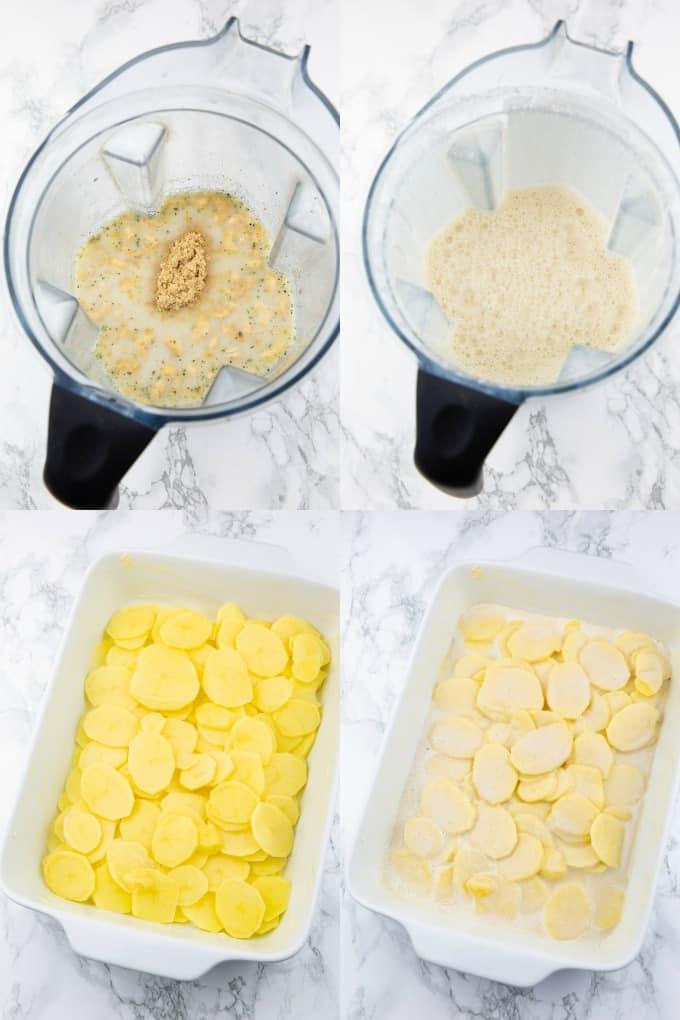 eine Collage aus vier Fotos, die die Zubereitung von Kartoffelauflauf zeigen