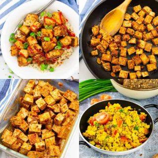 eine Collage aus vier Fotos, die Tofu Rezepte zeigen