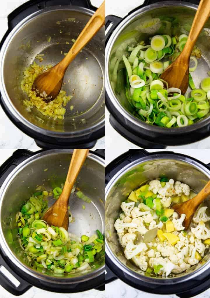 vier Schritt für Schritt Fotos, die die Zubereitung von Blumenkohlsuppe in einem elektrischen Schnellkochtopf zeigen