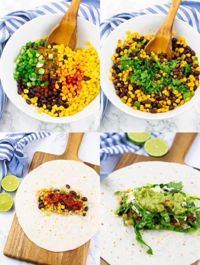 vier Schritt für Schritt Fotos, die die Zubereitung der Füllung von Burritos zeigen
