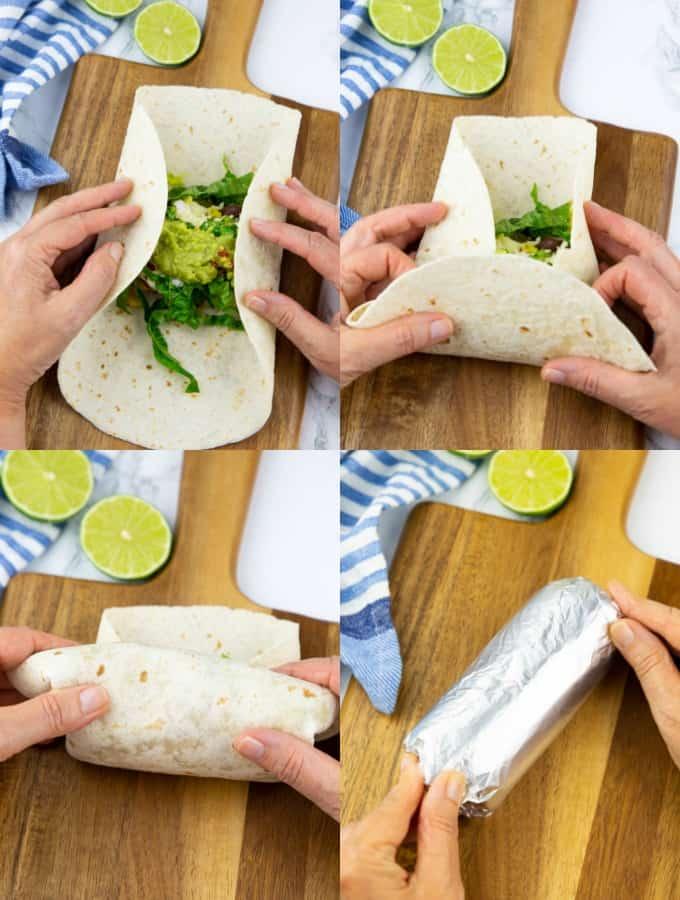 vier Schritt für Schritt Fotos, die zeigen, wie ein Burrito gerollt wird