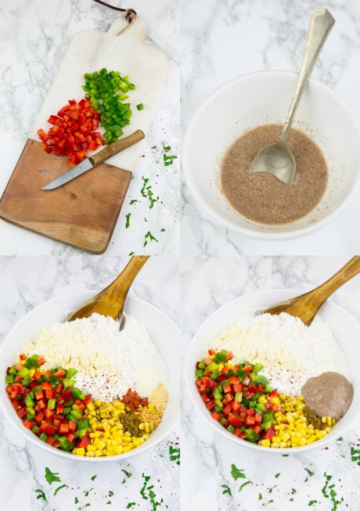 eine Collage aus vier Fotos, die die Zubereitung von Maispuffern zeigt