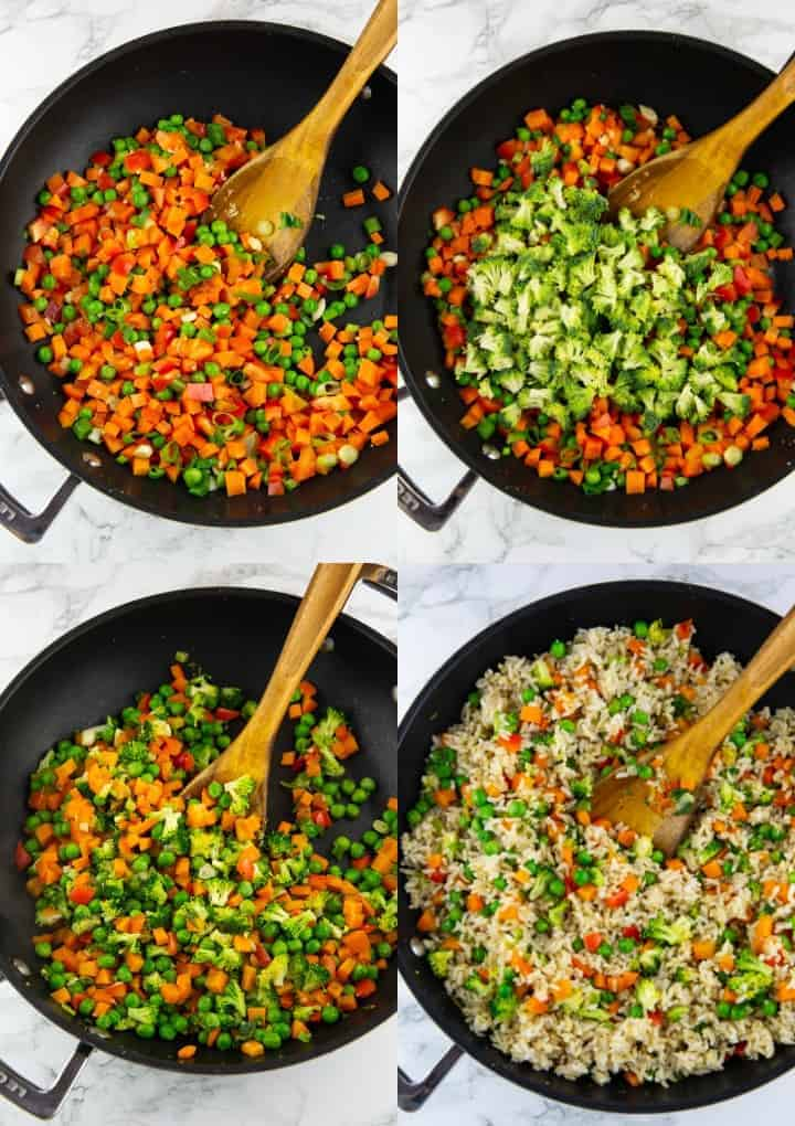 eine Collage aus vier Fotos, die die Zubereitung von gebratenem Reis zeigt