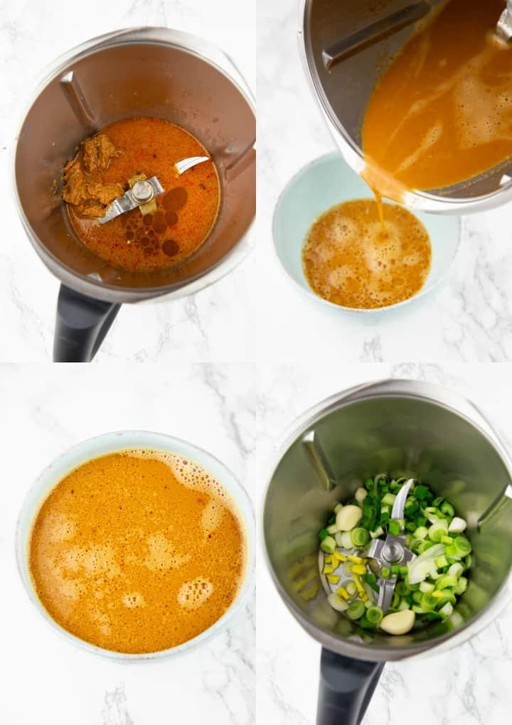 eine Collage aus vier Fotos, die die Zubereitung von Asia Nudeln im Thermomix zeigt