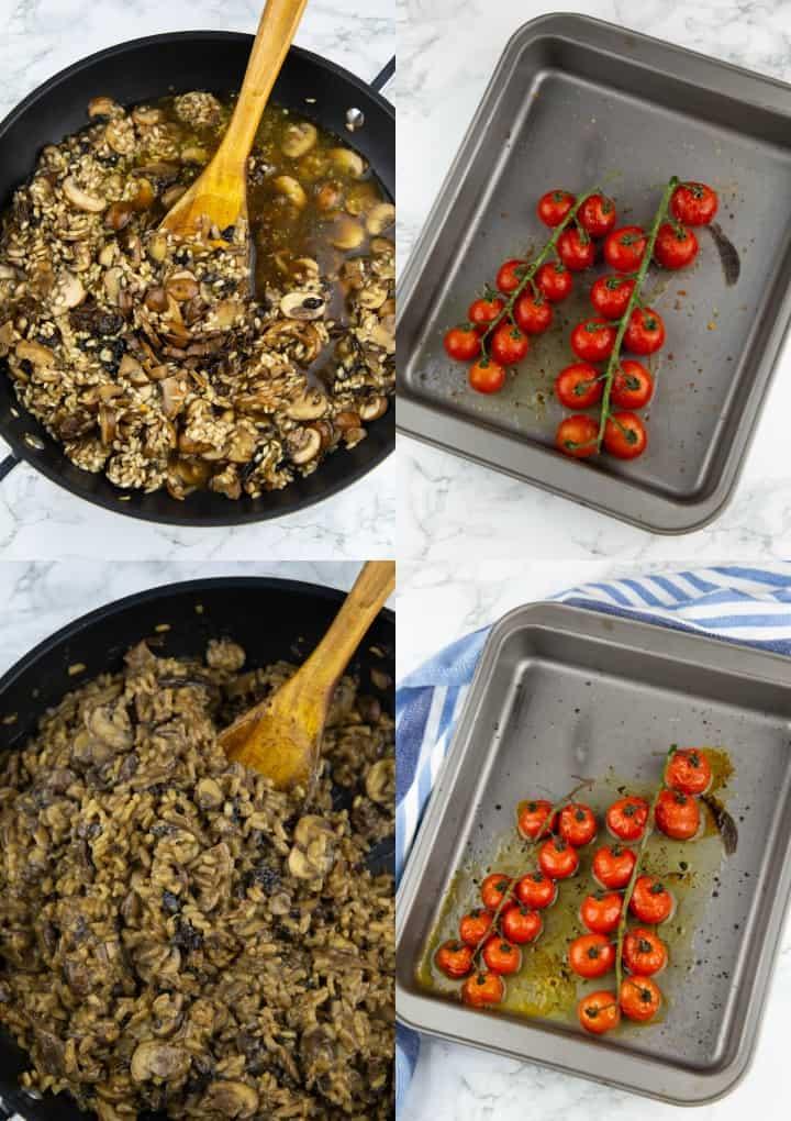 eine Collage aus vier Fotos, die die Zubereitung von Risotto mit Pilzen zeigt