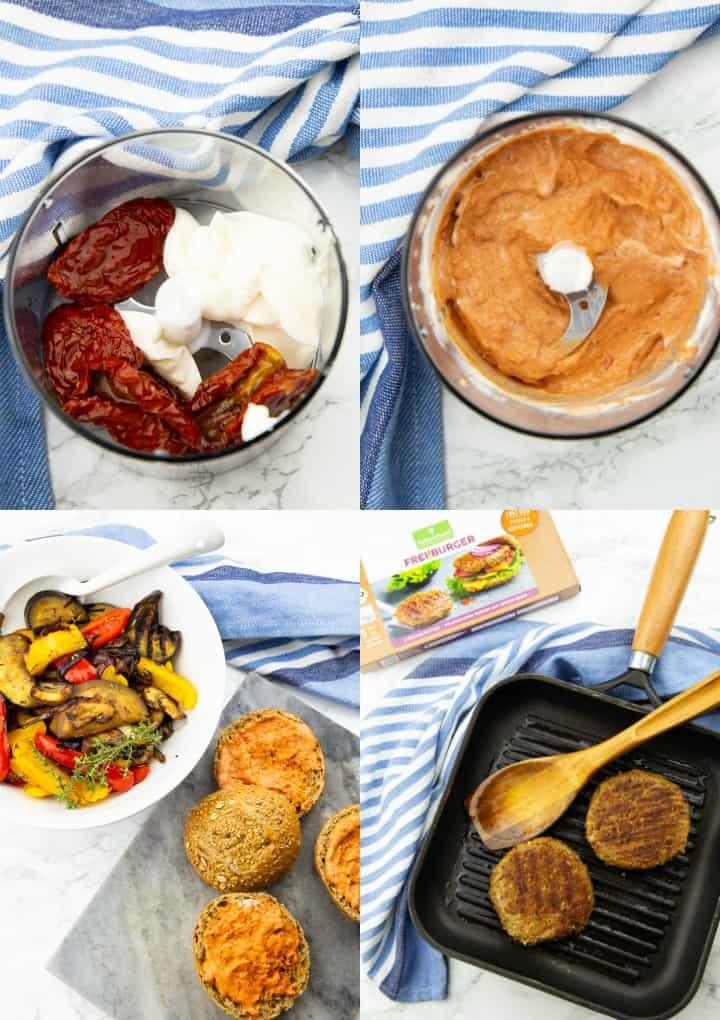 eine Collage aus vier Fotos, die die Zubereitung von veganen Burgern zeigen