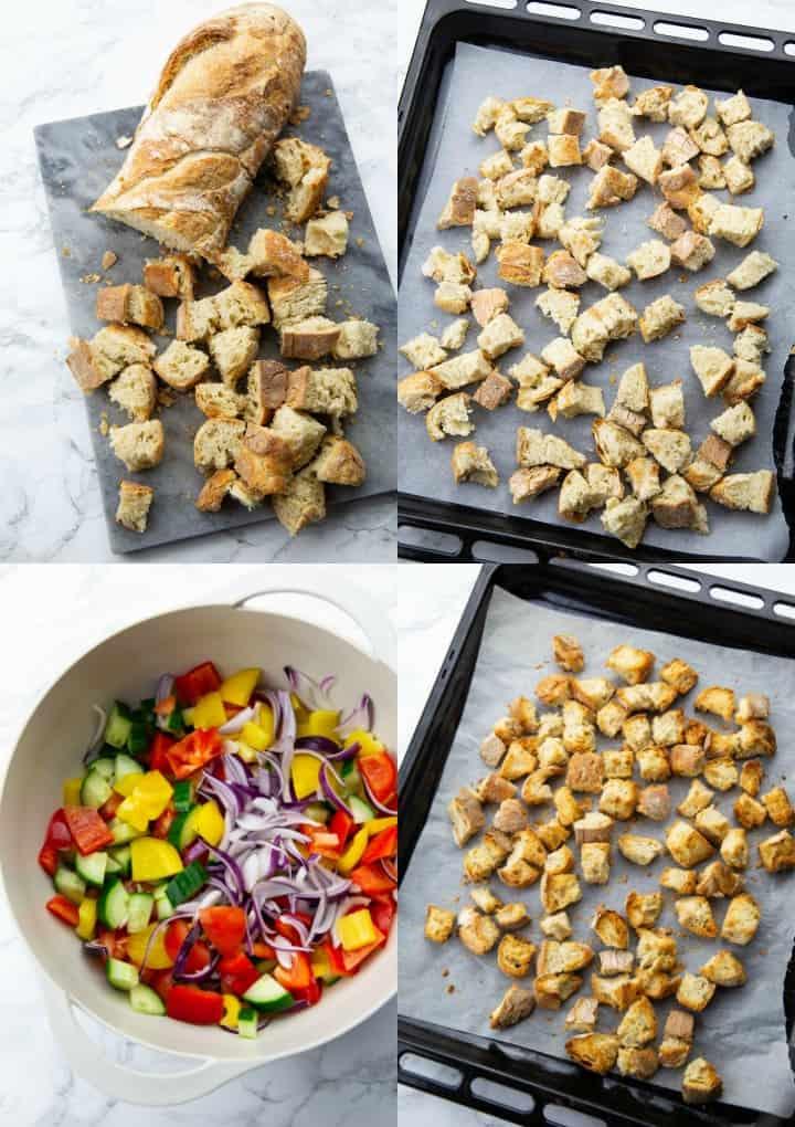 eine Collage aus vier Fotos, die die Zubereitung von Panzanella zeigt