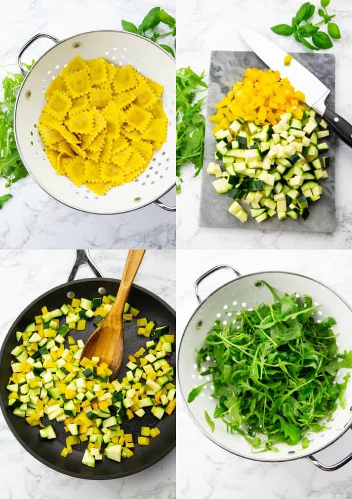 eine Collage aus vier Fotos, die die Zubereitung eines Ravioli Salats zeigt