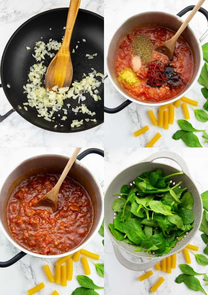 eine Collage aus vier Fotos, die die Zubereitung von Tomatensauce im Mixer zeigt