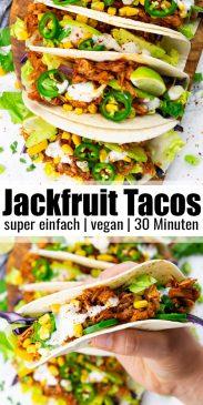 eine Collage aus zwei Fotos von Jackfruit Tacos mit Text Overlay