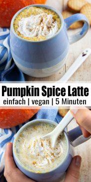 eine Collage aus zwei Fotos von Pumpkin Spice Latte mit einem Text Overlay