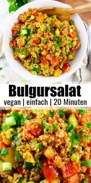 eine Collage aus zwei Fotos von Bulgursalat mit Textoverlay
