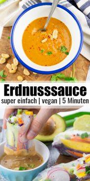 eine Collage aus zwei Fotos von Erdnusssauce mit einem Text Overlay