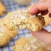 eine Hand, die einen veganen Keks hält mit weiteren Keksen im Hintergrund