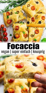 eine Collage aus zwei Fotos von einer Focaccia mit einem Text Overlay