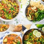eine Collage aus vier Fotos von verschiedenen Quinoa Rezepte