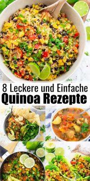 eine Collage aus verschiedenen Quinoa Rezepten mit einem Text Overlay