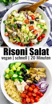 eine Collage aus zwei Fotos von einem Risoni Salat mit einem Text Overlay