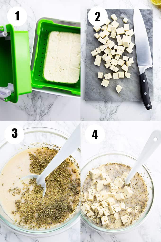 eine Collage aus vier Fotos, die die Zubereitung von veganem Feta zeigen