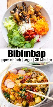 eine Collage aus zwei Fotos von Bibimbap mit einem Text Overlay