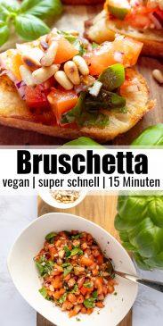 eine Collage aus zwei Fotos, die die Zubereitung von Bruschettas zeigt