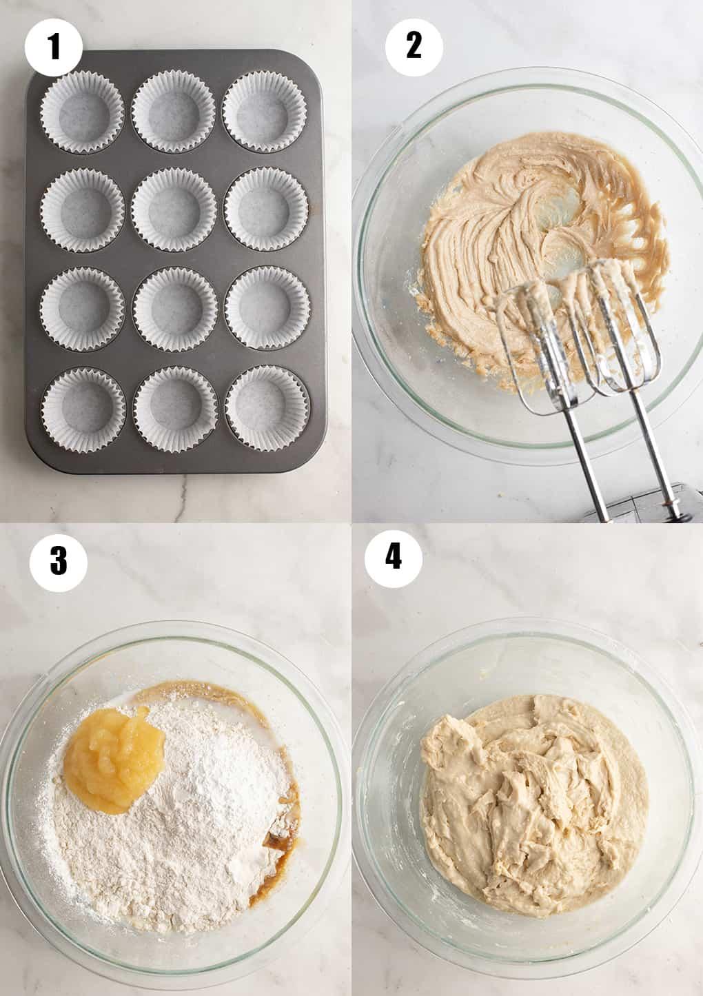 eine Collage aus vier Fotos, die die Zubereitung dieses Rezepts zeigt