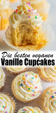 eine Collage aus zwei Fotos von veganen Cupcakes mit einem Text Overlay