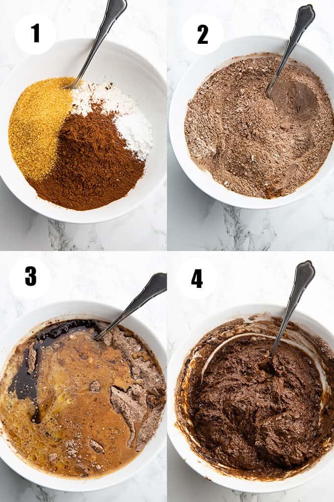 eine Collage aus vier Fotos, die die Zubereitung von diesem Rezept zeigen