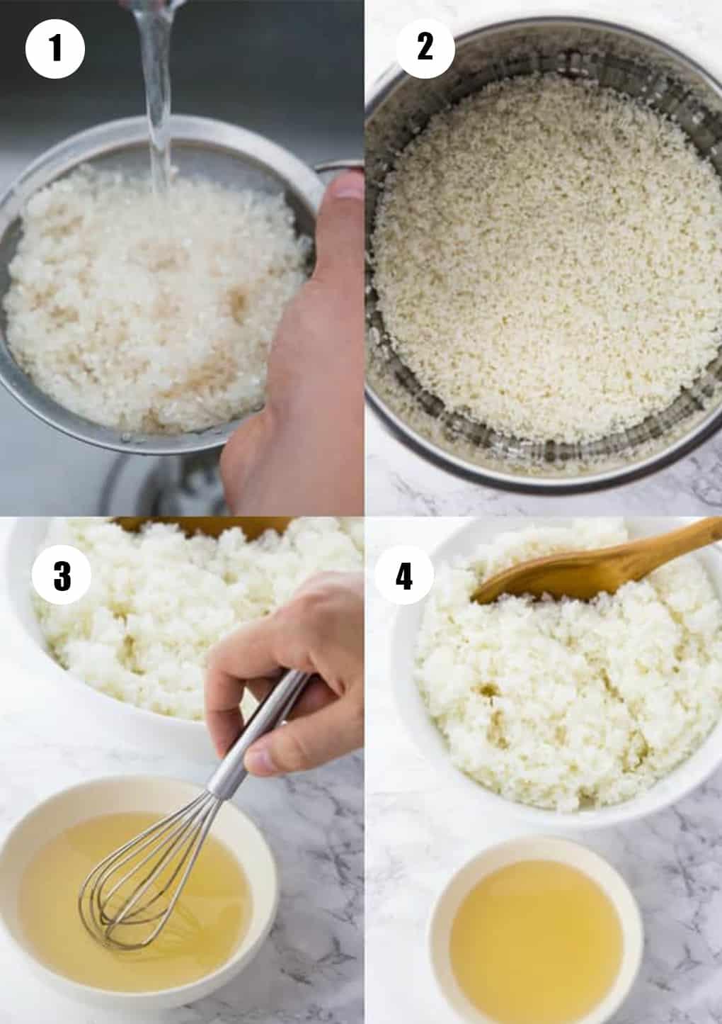 eine Collage aus vier Fotos, die die Zubereitung dieses Rezepts zeigen