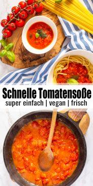 eine Collage aus zwei Fotos von Tomatensoße mit einem Text Overlay