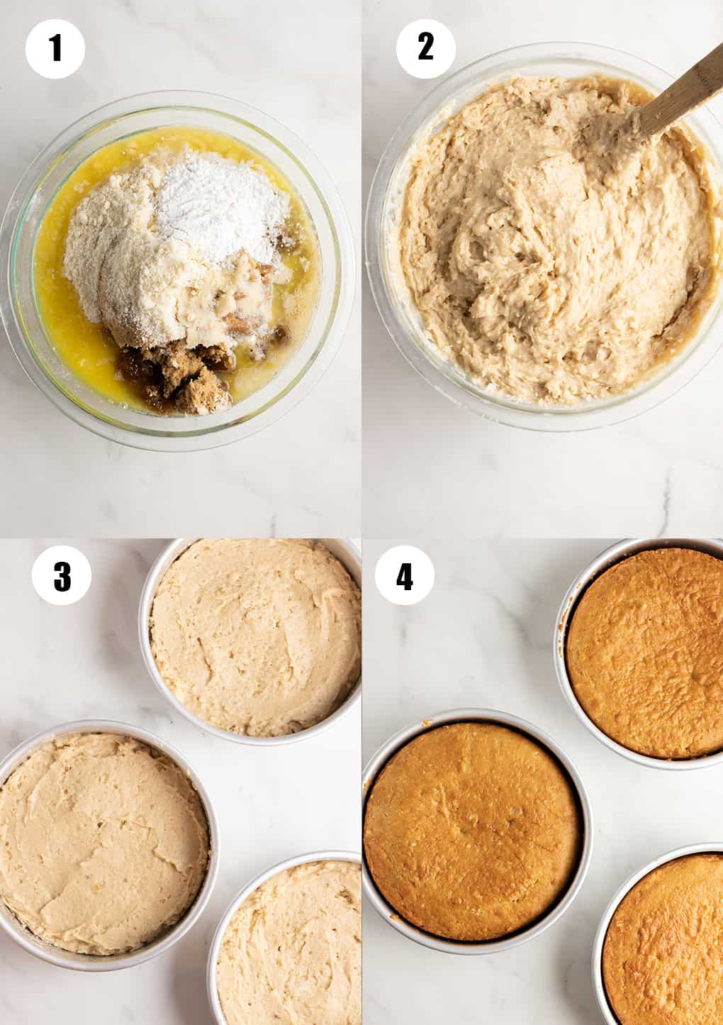 eine Collage aus vier Fotos, die zeigen wie das Rezept zubereitet wird