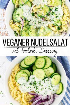 eine Collage aus zwei Fotos von einem veganen Nudelsalat mit Text Overlay