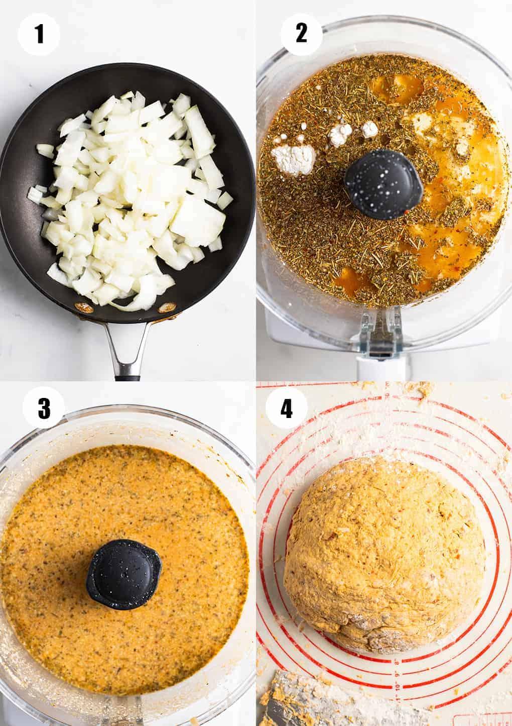 eine Collage aus vier Fotos, das die Zubereitung dieses Rezept zeigen