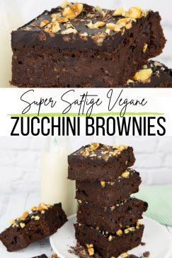 eine Collage aus zwei Fotos von Zucchini Brownies mit einem Text Overlay