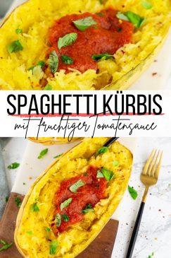 eine Collage aus zwei Fotos von einem Spaghettikürbis mit einem Textoverlay
